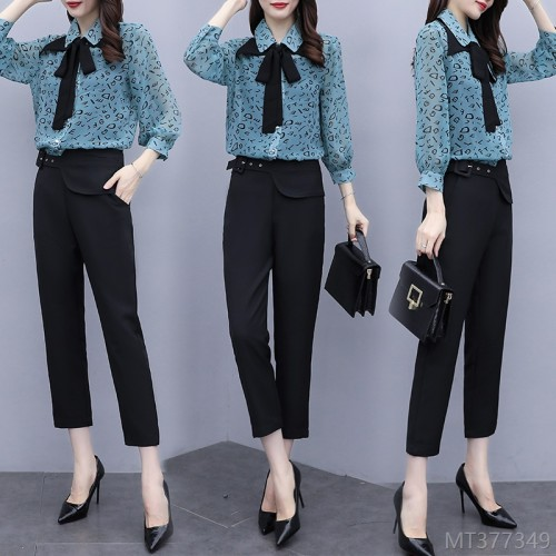 2020 new summer fashion chiffon top professional two-piece suit