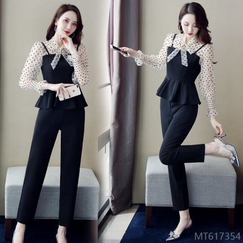 2020 new lotus leaf top + commuter OL pants suit
