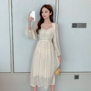 2020 new and new all-match white slim dress square neck puff sleeve princess dress fashion autumn skirt T-shirt