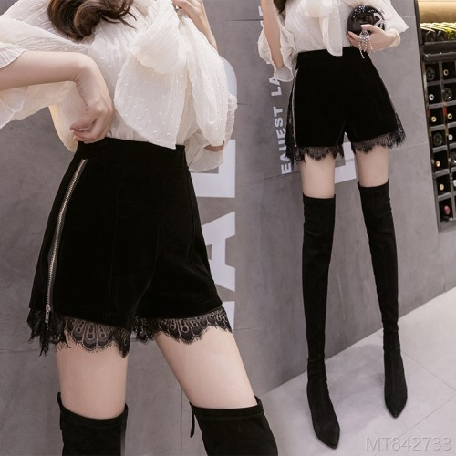 2020 new high waist slim cutout lace shorts straight leg pants casual
