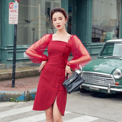 2020 new slim waist sexy dress with square collar commuter