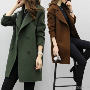 2020 new Korean version of the large size coat loose and thin, small woolen woolen cloth
