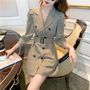 2020 new double-breasted suit jacket autumn women's waist houndstooth puff sleeve