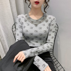 2020 new fashion inside Korean version of the western-style tight top printed long-slee
