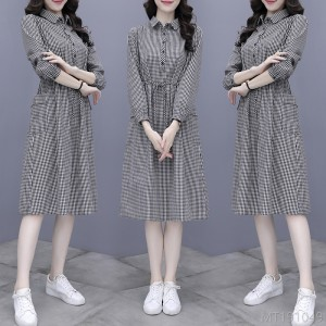 2020 New Breasted Pullover Loose Dress Plaid Large Size
