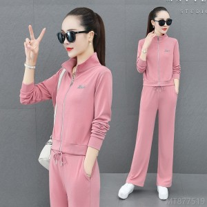 2020 new fashion sweater trend wide-leg pants high-end casual wear two-piece suit