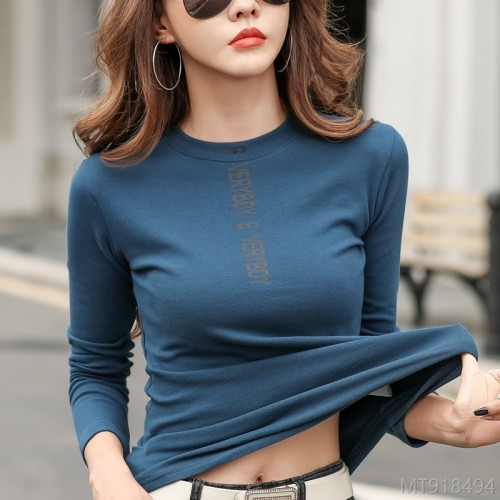 2020 new year-old fashion all-match western style black long-sleeved t-shirt