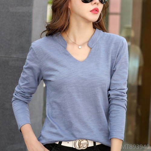2020 new slub cotton fashion V-neck casual all-match ladies base