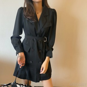 2020 new mid-length long-sleeved suit with waist and thin temperament