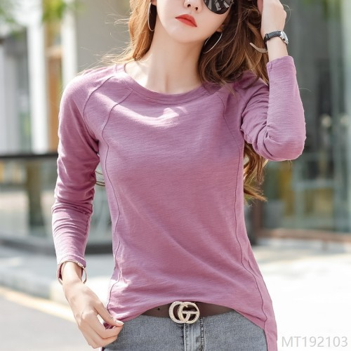 2020 new autumn fashion fashion loose slit Korean style slub cotton top