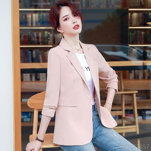 2020 new pink small suit jacket female commuter Korean version