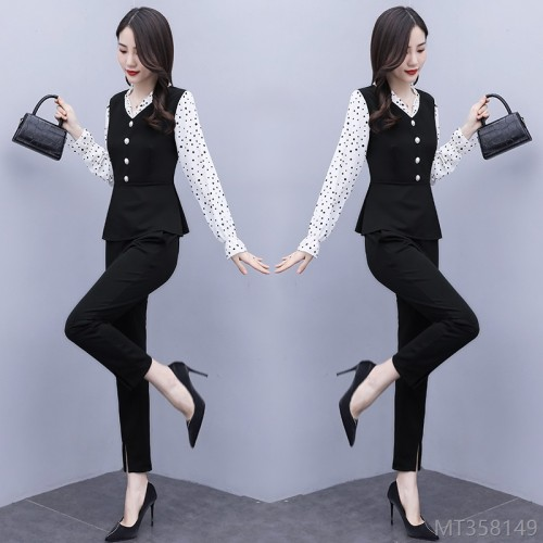 2020 new slim suit ruffled temperament base shirt two-piece