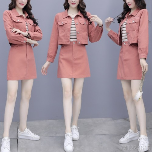 2020 new casual denim skirt suit fried street two-piece autumn