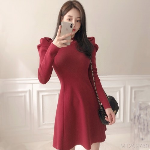 2020 new waist goddess knitted dress women long sleeves