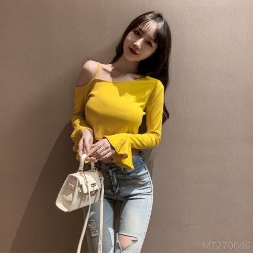 2020 new autumn fashion sexy nightclub diagonal collar top short
