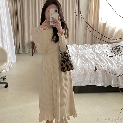 2020 new waist knee-length knitted dress women's winter net red simple hair