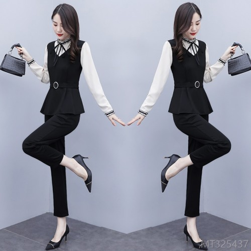 2020 new shirt and pants two-piece female waist-covering belly temperament suit