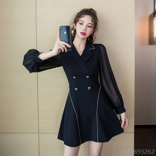 2020 new one hundred short skirt one-piece suit collar solid color high waist commuter