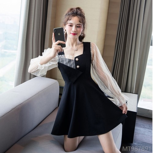 2020 new fashion net yarn stitching dress lantern sleeves
