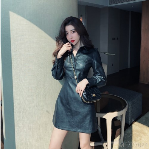 2020 new leather dress short skirt long sleeve stand collar button commuter often