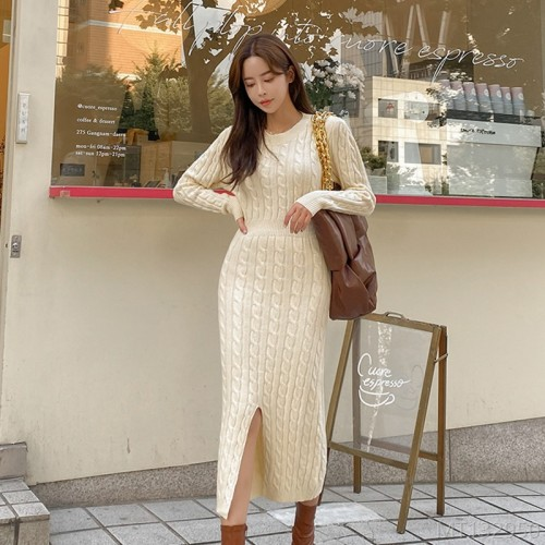 2020 new linen pattern long-sleeved knitted dress sweater commuter