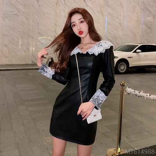 2020 new slim slim leather dress zipper