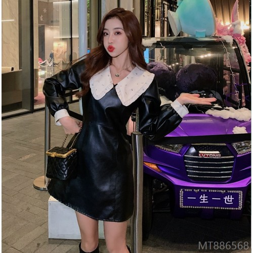 2020 new waist slim Korean sexy A-line short skirt leather skirt
