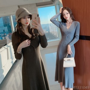 2020 new knitted sweater dress solid color commuter
