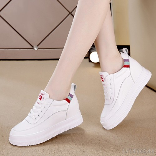 2020 new flat-bottom casual high-rise single shoes two-layer pigskin