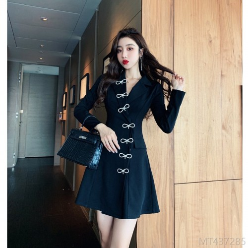 2020 new fried street jacket dress long sleeve solid color short skirt suit collar