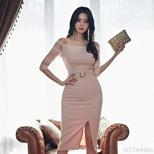 2020 new slim high waist sexy bag hip mid-length dress lead
