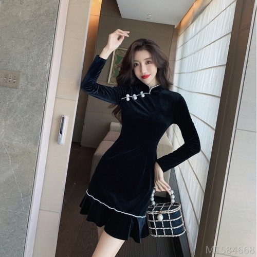 2020 new fashionable dress one-piece three-dimensional decoration regular ruffle skirt