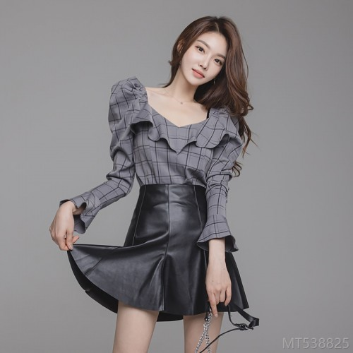 2020 new ruffled slim top + high waist slim A-line leather skirt