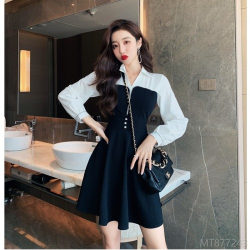 2020 new black and white stitching fashion dress