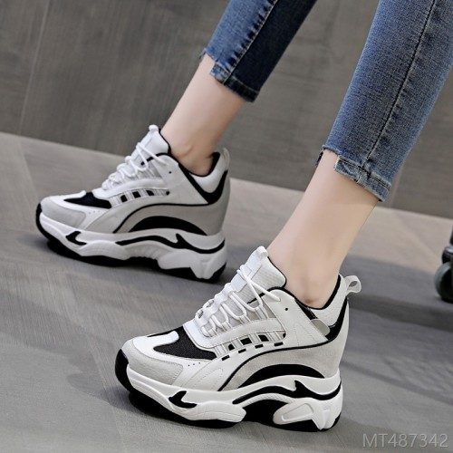 2020 new flat increased slope heel casual sports student shoes net shoes