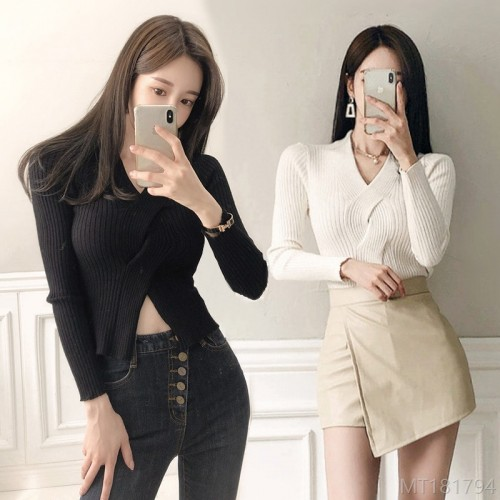 2020 new v-neck knitted high stretch short sweater long sleeves