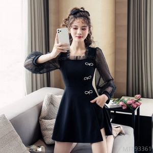 2020 new fashion mesh stitching dress + short two-piece suit