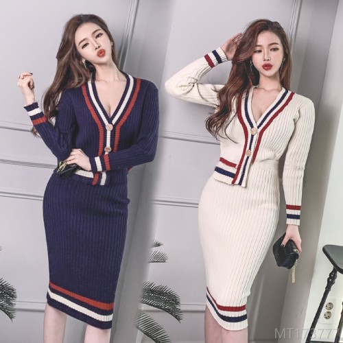 2020 new V-neck sweater cardigan long-sleeved sweater + hip woolen skirt