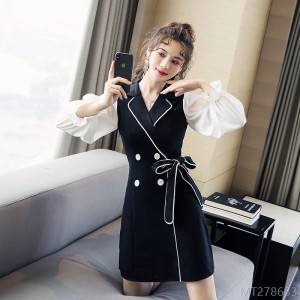 2020 new black dress double breasted suit collar single piece
