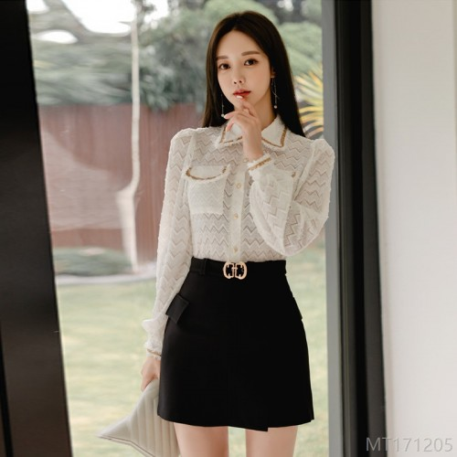 2020 New Lapel Long Sleeve Shirt + High Waist Belt Skirt