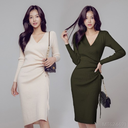 2020 new long sleeve woolen mid-length dress high waist regular