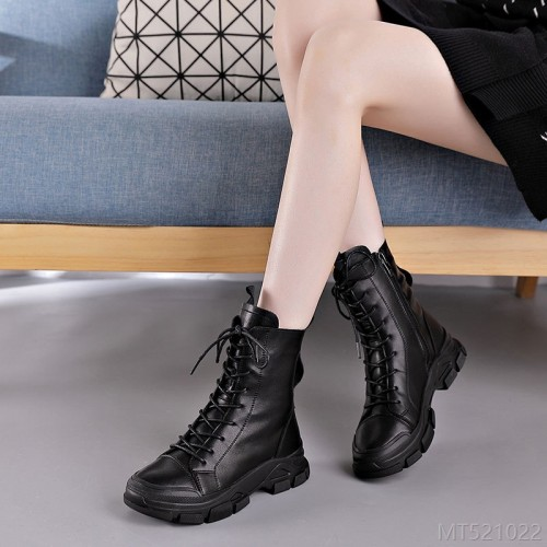 2020 new leather lace retro cotton boots flat ankle boots