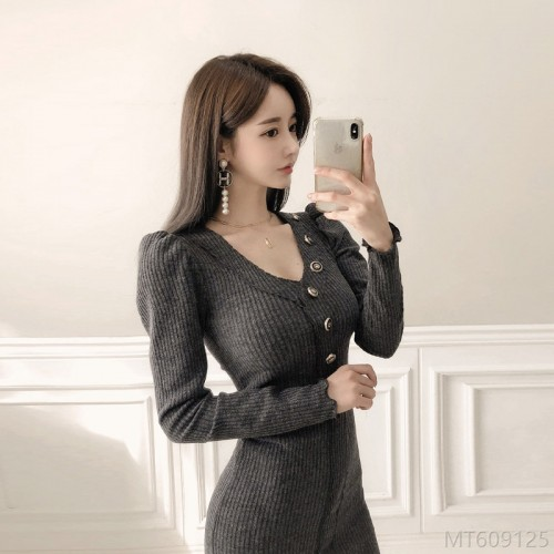 2020 new round neck is thinner, base sweater long single piece