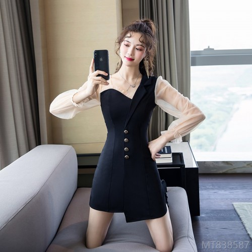 2020 new mesh stitching dress single breasted irregular