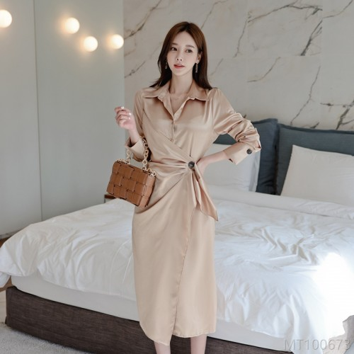 2020 new one button long shirt dress high waist solid color