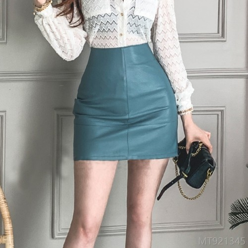2020 new autumn fashion PU leather A-line skirt mini skirt