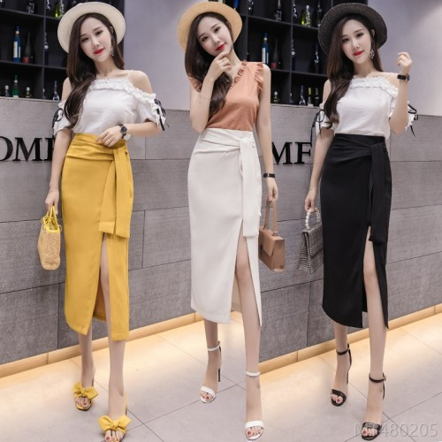 2020 new all-match autumn and winter fashion strappy split skirt mid-length