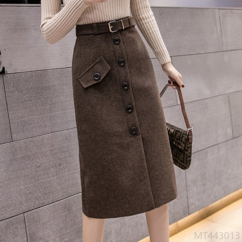 2020 new all-match woolen mid-length split a-line hip skirt
