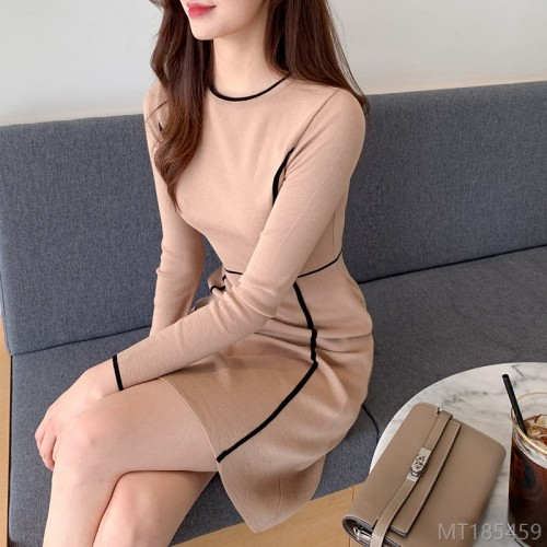 2020 new knit skirt goddess fan long sleeve dress mid-length autumn fashion