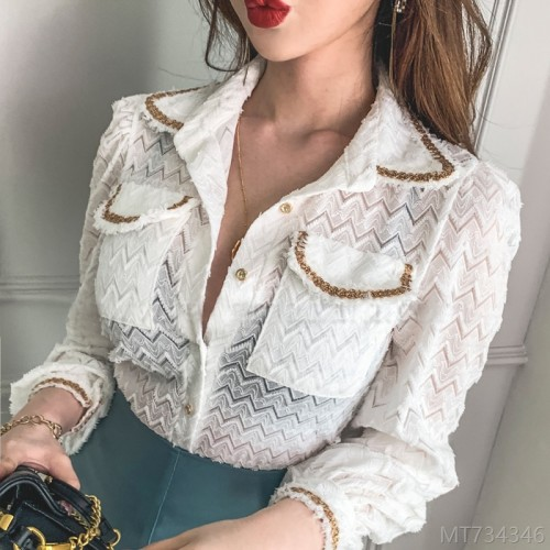 2020 new new autumn fashion ladies shirt fashionable lace long sleeve top